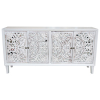 Hamptons Carved Timber 4 Door Cabinet (MH8348-1)