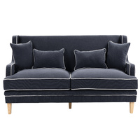 Hamptons Bondi 3 Seat Sofa - Navy with White Piping (FL0227NV-3)