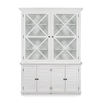 HAMPTONS WEST BEACH TALL GLASS CABINET - WHITE (WB1013)