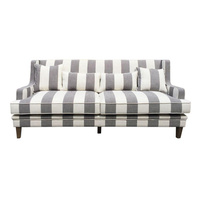 Hamptons Bondi 3 Seat Sofa - Grey Cream Stripe (FL0227GC-3)