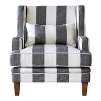 Hamptons Bondi Armchair - Grey Cream Stripe (FL0227GC-1)