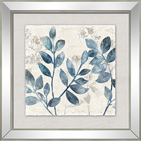 Hamptons Square Blue Leaf Print on Mirror Frame (HH0021)
