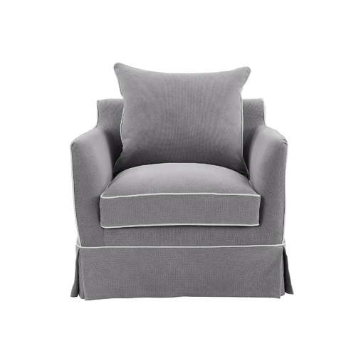 Hamptons Noosa Armchair - Grey with White Piping (FL0226SB-1)