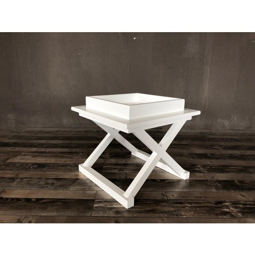 Hamptons Cross Leg Tray Table - White